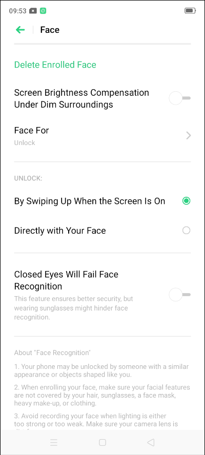 How to enable fingerprint sensor and face unlock in Realme 5